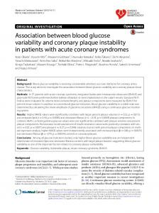 Association between blood glucose variability and coronary plaque