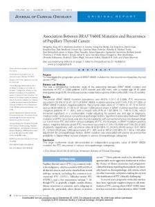 Association Between BRAF V600E Mutation and ...