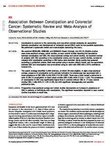 Association Between Constipation and Colorectal Cancer: Systematic ...