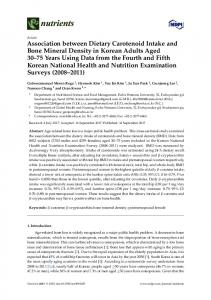 Association between Dietary Carotenoid Intake and Bone ... - MDPI