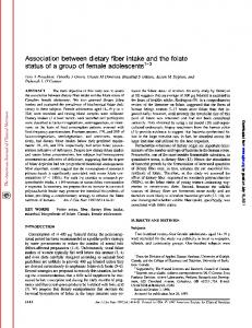 Association between dietary fiber intake and the folate ...