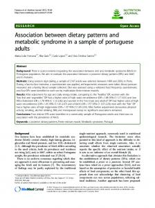 Association between dietary patterns and metabolic ... - CiteSeerX
