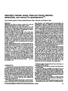 Association between energy intake and viewing television