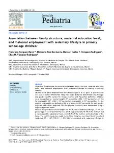Association between family structure, maternal education ... - Scielo.br