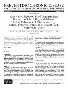 Association Between Food Opportunities During the School Day and ...