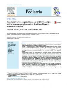 Association between gestational age and birth weight on ... - Scielo.br