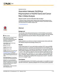 Association between Glu504Lys Polymorphism of ALDH2 Gene and ...