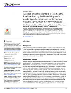 Association between intake of less-healthy foods defined by ... - PLOS
