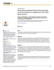Association between leisure-time activities and school failure ... - PLOS