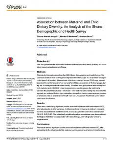 Association between Maternal and Child Dietary ... - Semantic Scholar