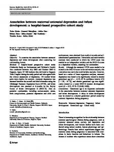 Association between maternal antenatal depression and infant ...