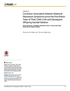 Association between Maternal Depression Symptoms