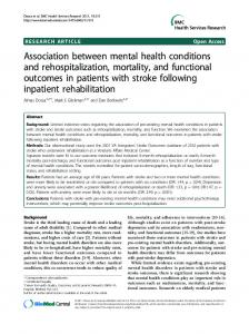 Association between mental health conditions and rehospitalization ...