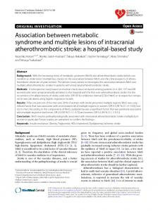 Association between metabolic syndrome and