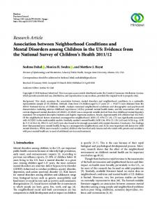 Association between Neighborhood Conditions and Mental Disorders ...