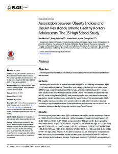 Association between Obesity Indices and Insulin Resistance ... - PLOS