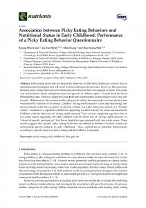 Association between Picky Eating Behaviors and Nutritional ... - MDPI