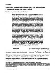 Association between plant-based diets and plasma lipids: a systematic ...
