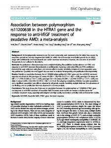 Association between polymorphism rs11200638 in the HTRA1 gene