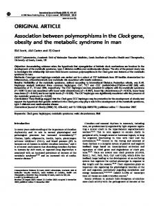 Association between polymorphisms in the Clock gene, obesity and ...