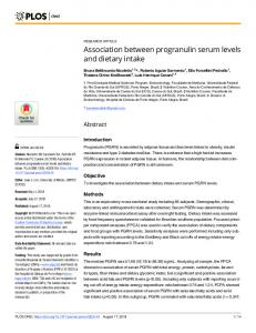 Association between progranulin serum levels and dietary intake - PLOS
