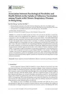 Association between Psychological Flexibility and Health Beliefs in the ...
