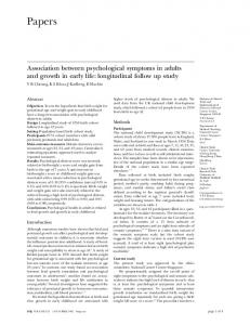 Association between psychological symptoms in adults and growth in ...