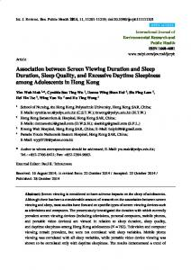 Association between Screen Viewing Duration and Sleep Duration