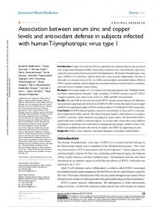 association between serum zinc and copper levels