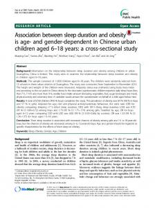 Association between sleep duration and obesity is age-and gender ...