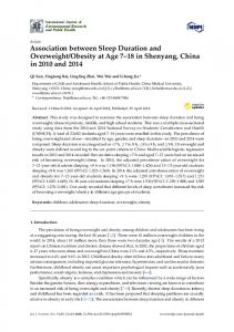 Association between Sleep Duration and Overweight/Obesity ... - MDPI