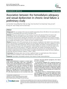 Association between the hemodialysis adequacy and sexual ...