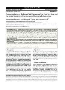 Association Between the Lateral Wall Thickness of the Maxillary Sinus ...