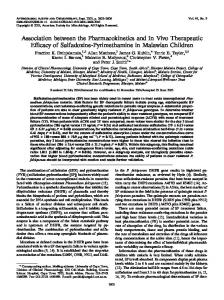 Association between the Pharmacokinetics and In Vivo Therapeutic ...