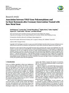 Association between VEGF Gene Polymorphisms and In-Stent ...