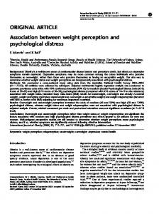 Association between weight perception and psychological distress