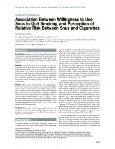 Association Between Willingness to Use Snus to ... - Oxford Journals