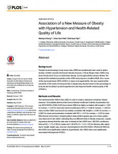 Association of a New Measure of Obesity with ... - Semantic Scholar