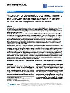 Association of blood lipids, creatinine, albumin, and CRP with ...