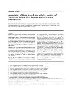 Association of Body Mass Index with In-Hospital Left Ventricular