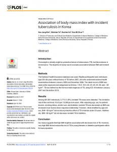 Association of body mass index with incident tuberculosis in ... - PLOS