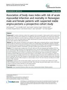 Association of body mass index with risk of acute myocardial infarction ...