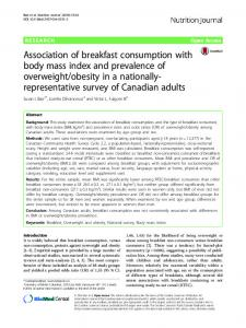 Association of breakfast consumption with body mass index and ...