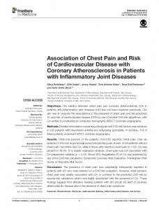 association of chest Pain and risk of cardiovascular Disease with