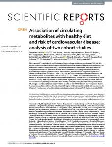 Association of circulating metabolites with healthy diet and ... - Nature
