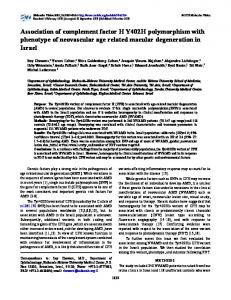 Association of complement factor H Y402H ... - Molecular Vision