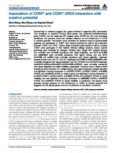 Association of COMT and COMT-DRD2 interaction ... - BioMedSearch