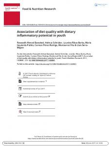 Association of diet quality with dietary inflammatory