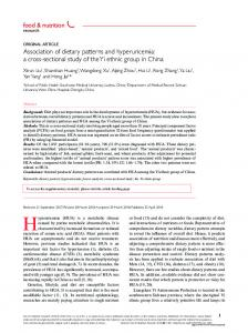 Association of dietary patterns and hyperuricemia - Food & Nutrition ...