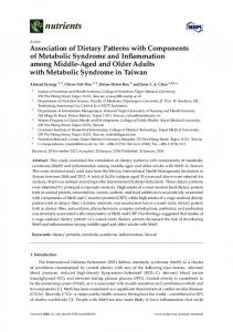 Association of Dietary Patterns with Components of Metabolic ... - MDPI